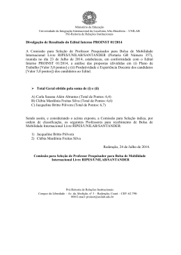 Resultado – Edital Nº 001 PROINST