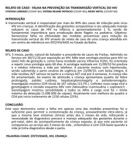 relato de caso - falha na prevenção da transmissão vertical do hiv