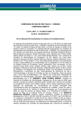 COMPANHIA DE GÁS DE SÃO PAULO – COMGÁS COMPANHIA