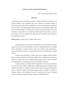 A PRÁTICA DOS CASTIGOS ESCOLARES SILVA, Sandra Jorge