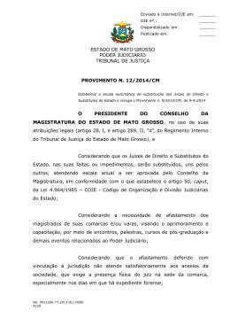 Provimento nº 012/2014/CM - Estabelece escala de substituição dos