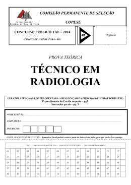 TÉCNICO EM RADIOLOGIA - Universidade Federal de Juiz de Fora