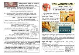 `FOLHA DOMINICAL ` - Paróquias Prazins (Stª Eufémia, Stº Tirso) e