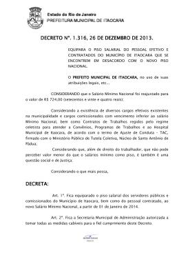 Decreto 1.316 -SALÁRIO MÍNIMO