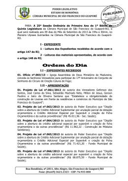 25° ordem do dia 2013  - câmara de vereadores de são francisco