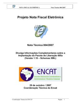 Nota Técnica 2007.004 - Portal da Nota Fiscal Eletrônica