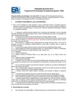 Edital complementar Engenharia Agricola 2016-1