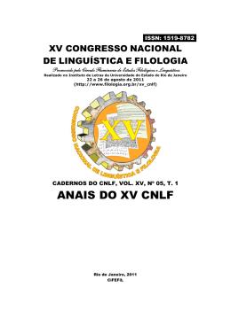 TOMO 1 - CiFEFiL - Círculo Fluminense de Estudos Filológicos e