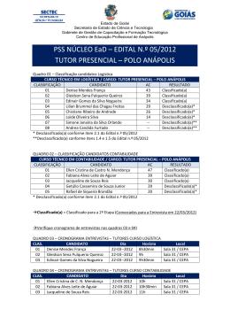 PSS NÚCLEO EaD – EDITAL N.º 05/2012 TUTOR