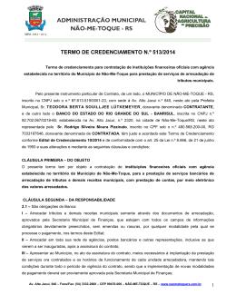 TERMO DE CREDENCIAMENTO N.º 513/2014