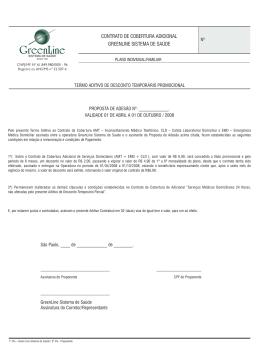 contrato de cobertura adicional greenline sistema de saúde