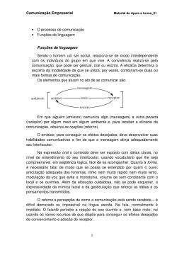 Comunicação Empresarial • O processo de comunicação • Funções de