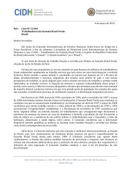 Caso Nº 12.066 Trabalhadores da Fazenda Brasil Verde Brasil