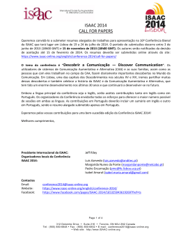 ISAAC 2014 Call for Papers (Portuguese)