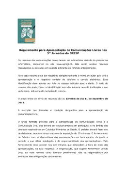 Regulamento para Apresentação de Comunicações Livres nas 3as