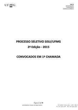 PROCESSO SELETIVO SISU/UFMG - 2ª Edição/2015