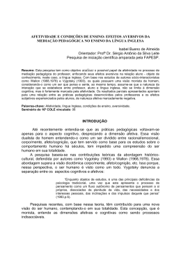 AFETIVIDADE E CONDIÇÕES DE ENSINO: EFEITOS AVERSIVOS