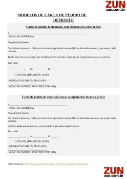 MODELOS DE CARTA DE PEDIDO DE DEMISSÃO