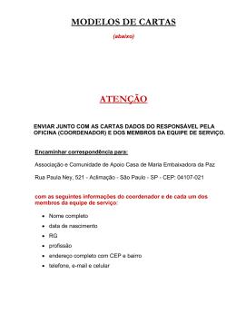 MODELOS DE CARTAS ATENÇÃO