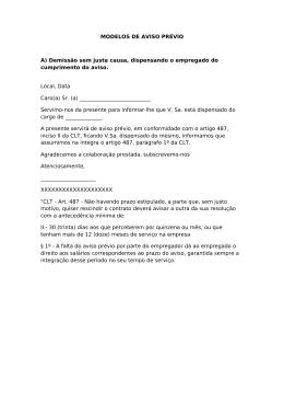 Aviso prévio para demissão de funcionários