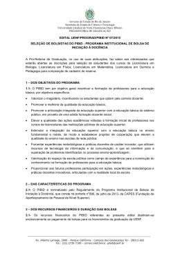 EDITAL UENF/PROGRAD/PIBID Nº 07/2015 SELEÇÃO DE