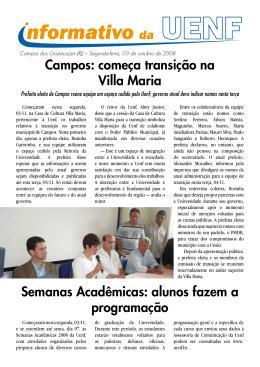 Campos: começa transição na Villa Maria Semanas Acadêmicas