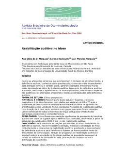 Revista Brasileira de Otorrinolaringologia Reabilitação auditiva no