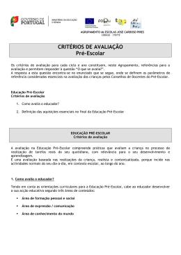 CRITÉRIOS DE AVALIAÇÃO Pré