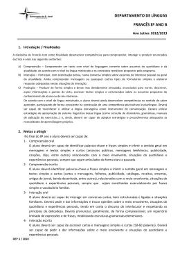 DEPARTAMENTO DE LÍNGUAS FRANCÊS 8º ANO B