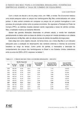 O ÍNDICE BIG MAC PARA A ECONOMIA BRASILEIRA
