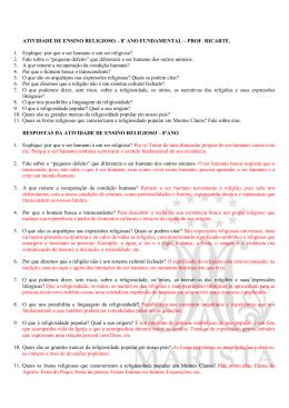 ATIVIDADE DE ENSINO RELIGIOSO – 8º ANO FUNDAMENTAL