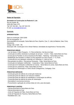 curriculo - SCR - Sociedade de Construções do Redondo, LDA