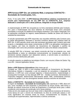 Comunicado APR - Projecto CONTACTO