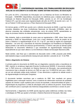 ANÁLISE DO DOCUMENTO DA SASE-MEC SOBRE