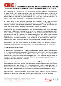 ANÁLISE DO DOCUMENTO DA SASE-MEC SOBRE