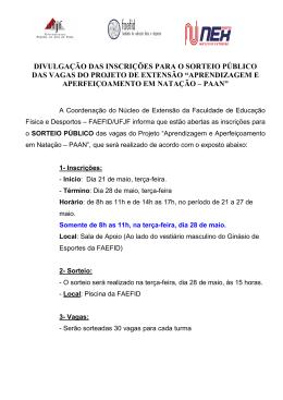 inscrições para o sorteio público das vagas do projeto de extensão