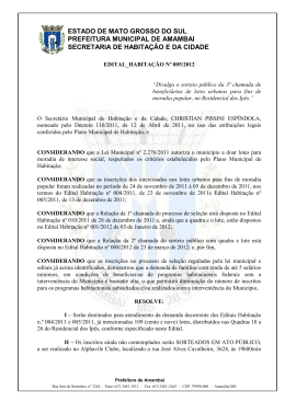 EDITAL_HABITAÇÃO Nº 005/2012 • Divulga o sorteio público da 3ª