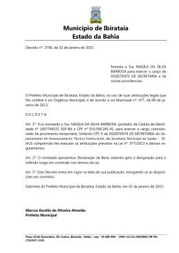 Decreto nº. 3706, de 02 de janeiro de 2015