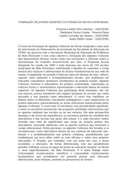 FORMAÇÃO DE JOVENS AGENTES CULTURAIS DA