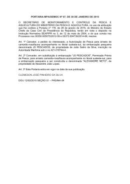 PORTARIA MPA/SEMOC Nº 07, DE 30 DE JANEIRO DE 2015 O