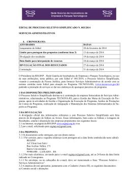 EDITAL DE PROCESSO SELETIVO SIMPLIFICADO N. 003