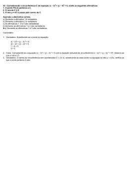 53 - Considerando a circunferência C de equação