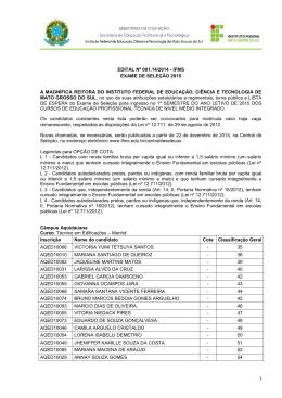 1 EDITAL Nº 001.14/2014 - IFMS EXAME DE SELEÇÃO 2015 A