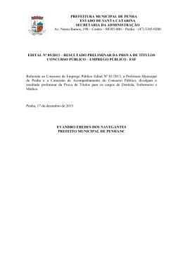 edital de resultado preliminar da prova de títulos