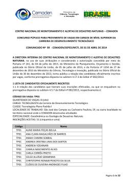 Relação final de candidatos inscritos por vagas