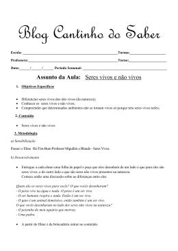 Plano de aula sobre seres vivos e não vivos para o 1º ano