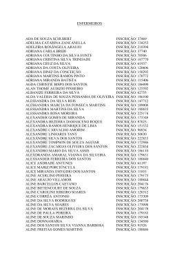 ENFERMEIROS ADA DE SOUZA SCHUBERT INSCRIÇÃO: 37469