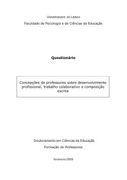 Questionário Concepções de professores sobre desenvolvimento
