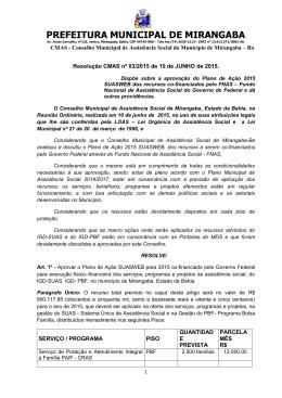 Resolução Nº 03/2015 - Portal da Prefeitura Municipal de Mirangaba