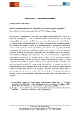 Biosurfactants – Potential and Applications Lígia Rodrigues, José